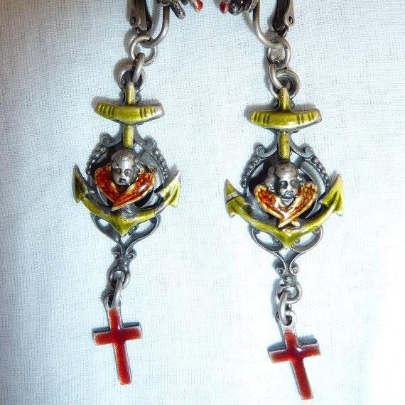 gaultier jeans paul gaultier jpg enamel earrings
