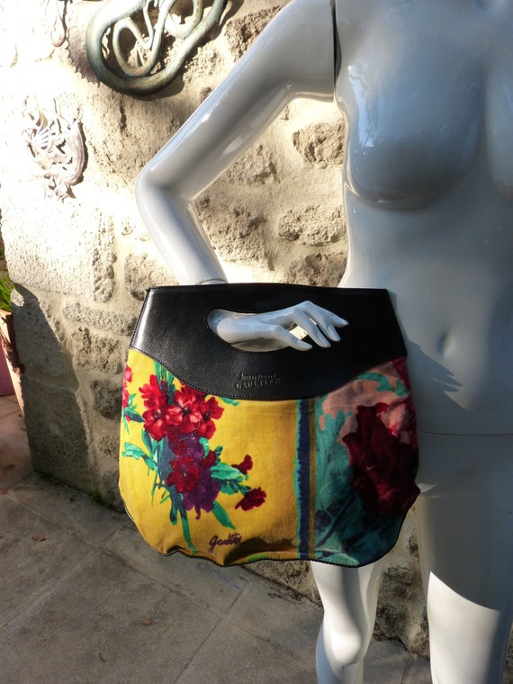beautiful Gaultier velvet and leather bag