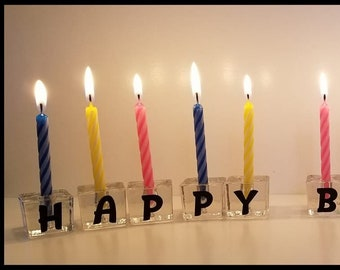 Happy Birthday Glass Candle Holder Candles Party Decor Cake