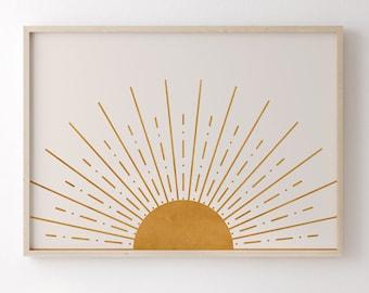 Abstract Sun Art Print Boho Decor, Mid Century Modern Printable Art Wall Decor, Horizontal Yellow Sunset Minimalist Nursery Decor Wall Art