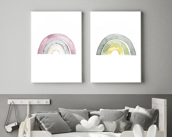 Nursery poster rainbow in freely selectable color designs