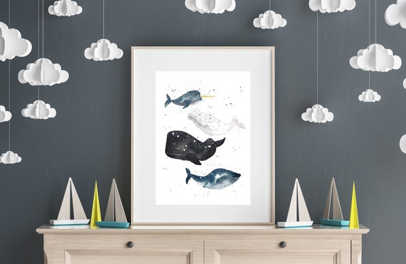 Nursery Card/Picture/Poster Baby Whales