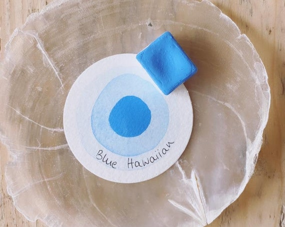 "Hawaii Collection - 1 Handmade Watercolor Color - #kreativascolors Color: ""Blue Hawaiian"" Neon Pastellies"