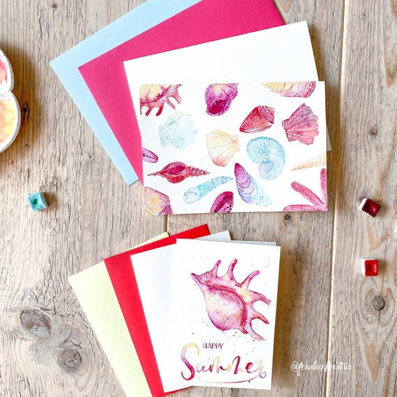 DIY 4er Watercolor folding cards (blank) Set with matching envelopes in B6 and C5 - suitable for watercoloring, calligraphy and letters