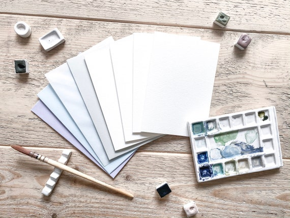 DIY 4 folding cards (blanko) set with matching envelopes - suitable for watercolouring, calligraphing and lettering
