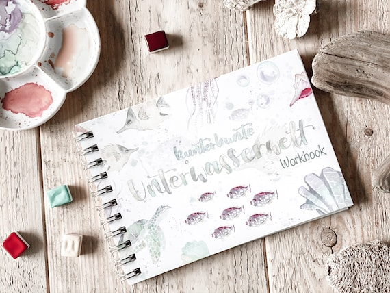 Watercolor Workbook/ Exercise Book, colorful underwater world, directly for a look-in; also available as a set of 4 colours #kreativascolors