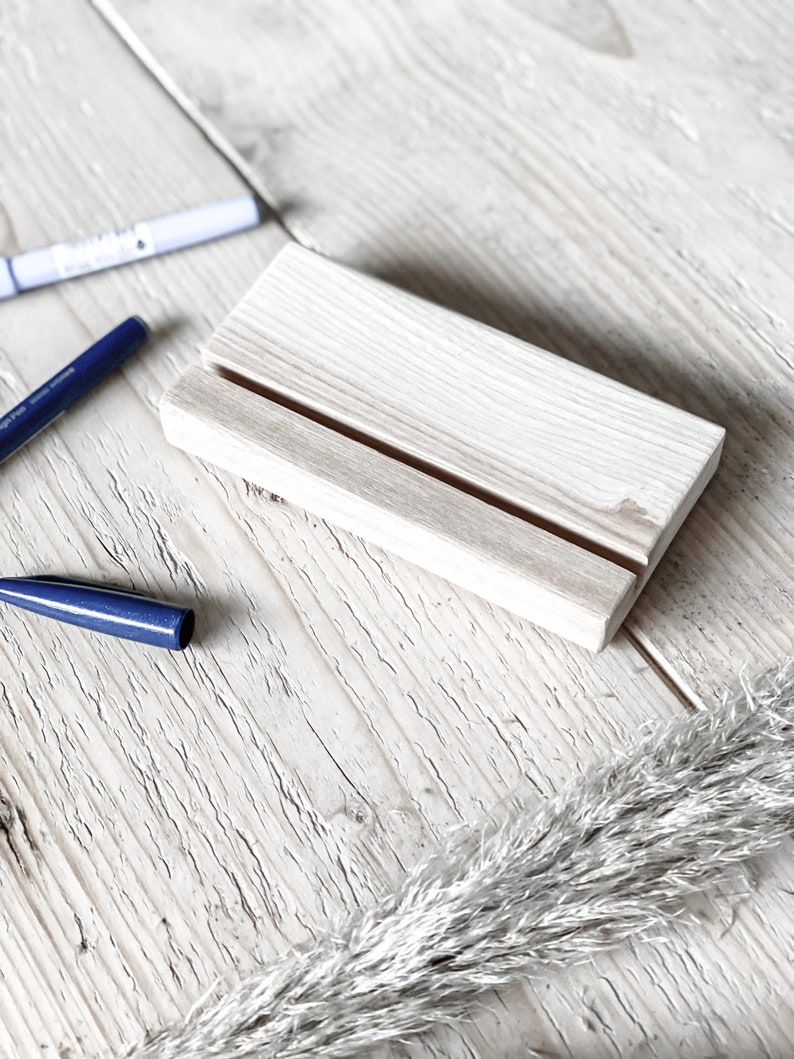 Versatile card holder with cork pads made of light ash wood image 0