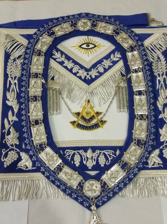 MASONIC PAST MASTER HAND EMBROIDER APRON CUFF/'S AND COLLAR MATCH BLUE VELVET
