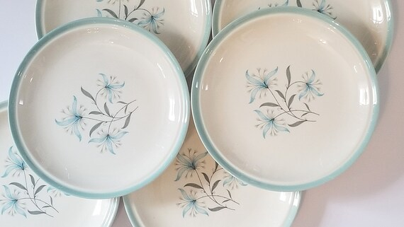 Vintage Aqua Blue 7 14 Plate by Cunningham and Pickett in Avalon Pattern Mid Century Turquoise Blue Cottage Decor Farmhouse 6 Set of Six