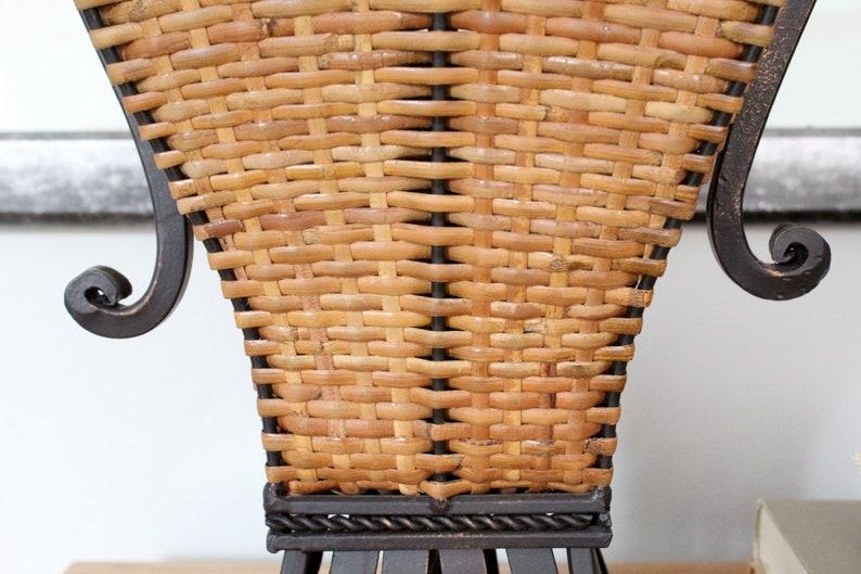 Contemporary Wicker and Metal Table Lamp Asian Flair Modern Boho Vibe Palm Beach Chic Beachy Design