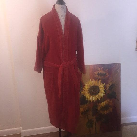 Vintage terry cloth burnt orange robe o/s