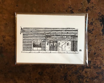 BellavanceInk: Greeting Card With A Pen & Ink Drawing Of Shenandoah Joe's Coffee Shop In Charlottesville 5 x 7 Inches