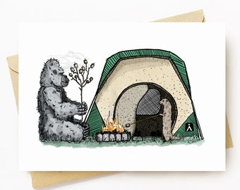 BellavanceInk: Greeting Card With Pen & Ink Drawing of a Gorilla And An Otter Roasting Marshmallows While Camping  5 x 7 Inches