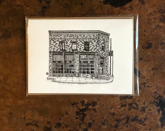 BellavanceInk: Greeting Card With A Pen & Ink Drawing Of The Mudhouse Cafe In Crozet Virginia 5 x 7 Inches