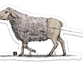 BellavanceInk: Sheep Unravelling Her Wool While Walking Pen & Ink Drawing On A Vinyl Sticker