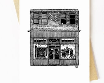 BellavanceInk: Greeting Card With A Pen & Ink Drawing Of The Old Metropolitan In Charlottesville  5 x 7 Inches