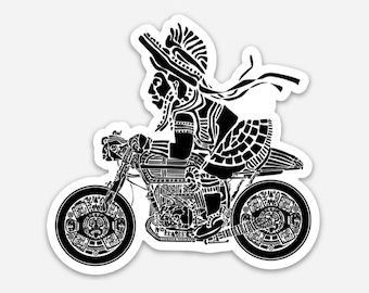 BellavanceInk: Mayan Warrior On A Cafe Racer Illustration On A Vinyl Sticker