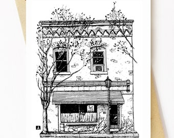 BellavanceInk: Greeting Card With A Pen & Ink Drawing Of Continental Divide Restaurant In Charlottesville Along West Main St 5 x 7 Inches