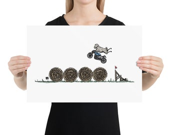 BellavanceInk: Pen & Ink/Watercolor With Stunt Sheep Jumping Hay Bales On Their Cafe Racer Motorcycle Print