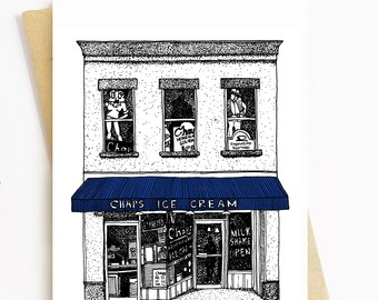 BellavanceInk: Greeting Card With Chaps Ice Cream Restaurant In Charlottesville 5 x 7 Inches