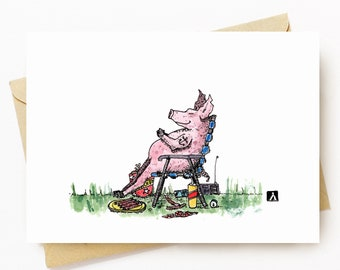 BellavanceInk: Greeting Card With Over Stuffed Pig In A Food Coma Pen & Ink Watercolor Illustration 5 x 7 Inches
