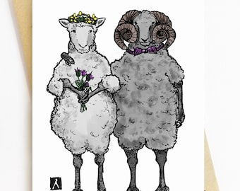 BellavanceInk: Wedding Congratulations Card With Two Sheeps Getting Married 5 x 7 Inches