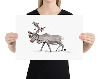 BellavanceInk: Pen & Ink/Watercolor With Rudolph The Red Nosed Reindeer With Christmas Lights  Limited Print