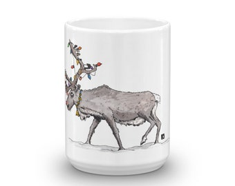 BellavanceInk: Christmas Coffee Mug With Rudolph The Red Nose Reindeer And Christmas Lights Pen/Ink Watercolor