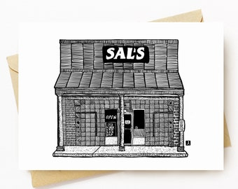 BellavanceInk: Greeting Card With A Pen & Ink Drawing Of Sal's Pizza In Crozet Pizza 5 x 7 Inches