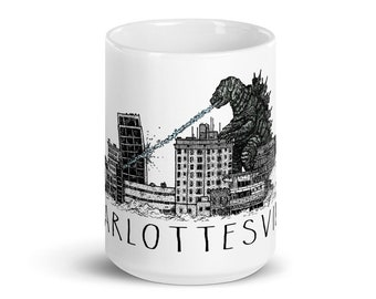 BellavanceInk: Coffee Mug With Pen & Ink Watercolor Sketch Of Giant Monster Attacking The Abandoned Landmark Hotel In Charlottesville