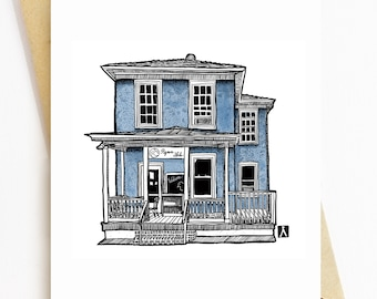 BellavanceInk: Greeting Card With The Pigeon Hole Coffee Shop In Charlottesville Virginia 5 x 7 Inches