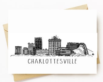 BellavanceInk: Greeting Card With A Pen & Ink Drawing Of The Charlottesville Skyline, Virginia  5 x 7 Inches