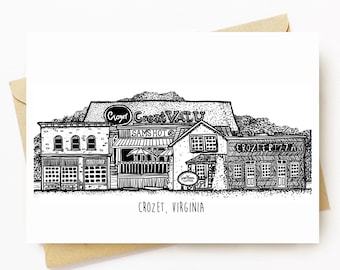 BellavanceInk: Greeting Card Local Shops On The Downtown of Crozet Virginia 5 x 7 Inches