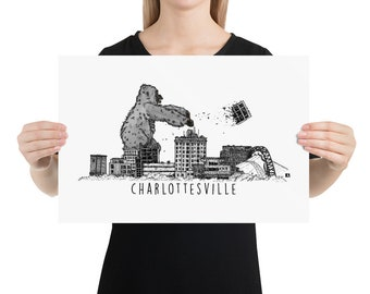 BellavanceInk: Pen And Ink Sketch Print of King Kong Attacking the Abandoned Landmark Hotel in Charlottesville Virginia