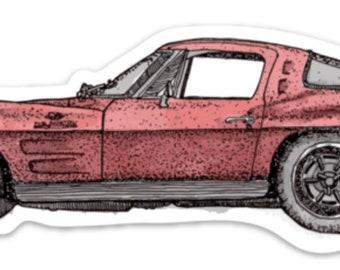 BellavanceInk: Vintage Stingray Sports Car Vinyl Sticker Illustration