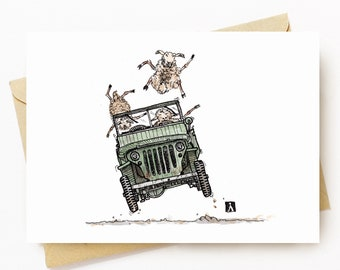 BellavanceInk: Greeting Card With Sheep Driving An Old World War Two Jeep 5 x 7 Inches
