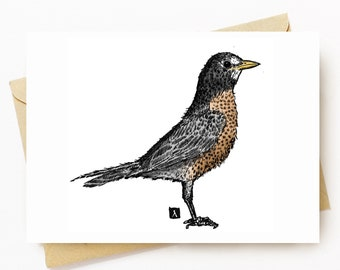 BellavanceInk: Greeting Card With An American Robin Pen & Ink Watercolor Illustration 5 x 7 Inches