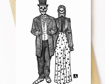 BellavanceInk: Wedding Congratulations Card With Two Skeletons Coffee 5 x 7 Inches