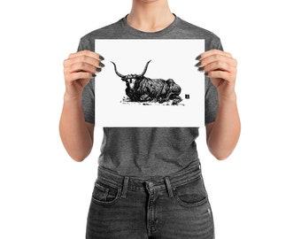 BellavanceInk: Pen & Ink Drawing of a Laying Bull Print