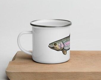 BellavanceInk: Enamel Coffee Mug With Pen & Ink Drawing Of Rainbow Trout Or Brook Trout Hand Wash Only