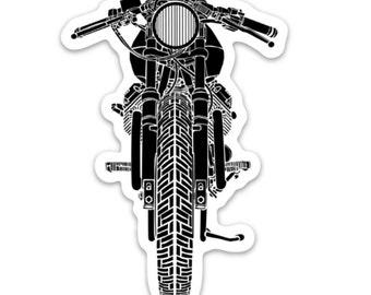 BellavanceInk: Vintage Italian Motorcycle Cafe Racer Front View Vinyl Sticker Illustration