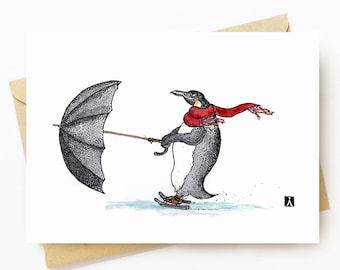 BellavanceInk: Greeting Card With Pen & Ink Drawing of Penguin Being Pulled On Ice Skates Using An Umbrella 5 x 7 Inches