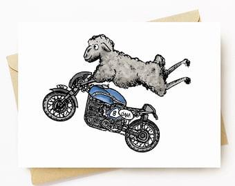 BellavanceInk: Pen & Ink/Watercolor Sheep On Their Cafe Racer Motorcycle 5 x 7 Greeting Card