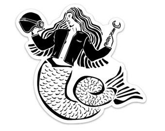 BellavanceInk: Mermaid Moto Lady Vinyl Sticker Illustration