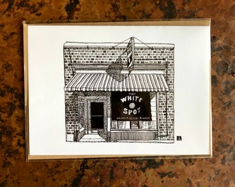 BellavanceInk: Greeting Card With A Pen & Ink Drawing Of The White Spot Diner in Charlottesville, Virginia  5 x 7 Inches
