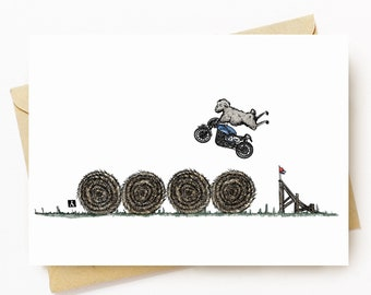 BellavanceInk: Pen & Ink/Watercolor With Stunt Sheep Jumping Hay Bales On Their Cafe Racer Motorcycle 5 x 7 Greeting Card