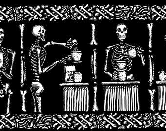 BellavanceInk: The Four Stages Of Death Making A Cup Of Coffee Vinyl Sticker Hand Drawn Illustration