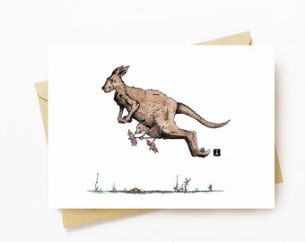 BellavanceInk: Mother's Day Card With Kangaroo Mom & Her Baby Kangaroo Joey Graphic 5 x 7 Inches