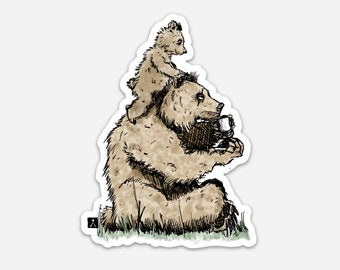 BellavanceInk: Bear Dad And Bear Cub Hanging Out Illustration On A Vinyl Sticker