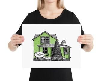 BellavanceInk: Limited Print of Greenhouse Coffee Shop In Crozet, Virginia